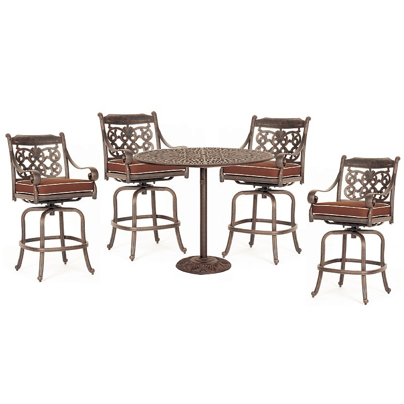 Victoria Cast Aluminum Outdoor Patio Dining Set Bar Height 5 Pcs CA 8085 BSET