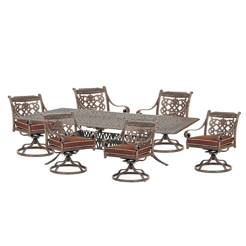 Outdoor Patio Table Sets on Victoria Cast Aluminum Outdoor Patio Dining Set Swivel 7 Pcs Ca 8085