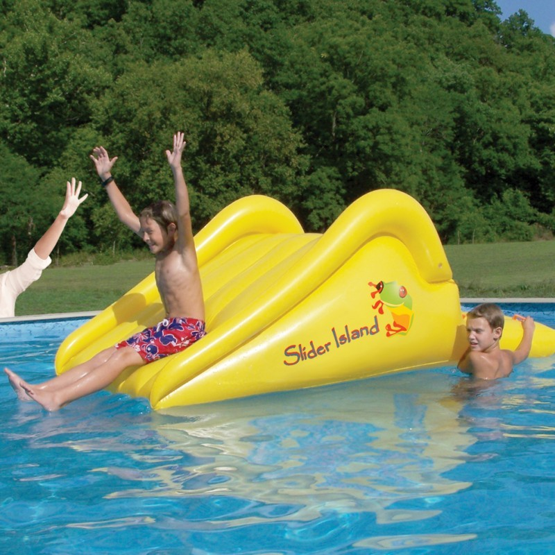 Pool Slides, Water Slides: Slick Slider Floating Island Pool Slide