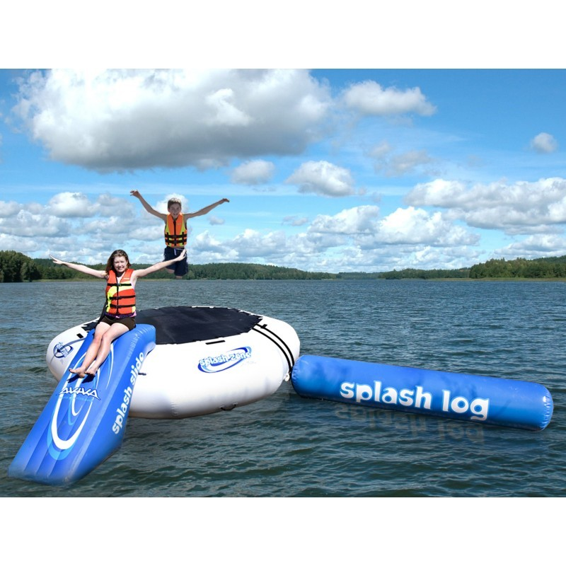 Lake Trampolines, Bouncers, Rafts: Splash Zone Plus Trampoline & Slide Inflatable Lake Water Park