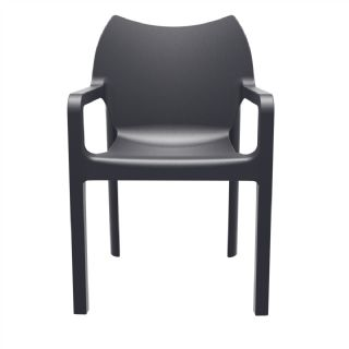 Diva Resin Outdoor Dining Arm Chair Black ISP028 360° view
