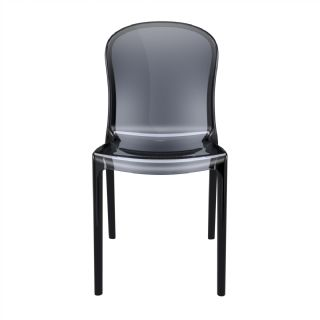 Victoria Clear Plastic Outdoor Bistro Chair Black ISP033 360° view