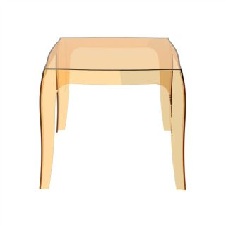 Queen Polycarbonate Square side Table Transparent Black ISP065 360° view