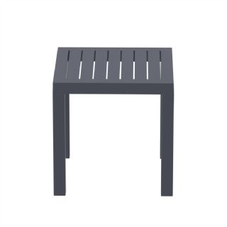 Ocean Square Resin Outdoor Side Table Silver Gray ISP066 360° view