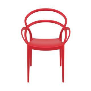Mila Outdoor Dining Arm Chair Red ISP085 360° view