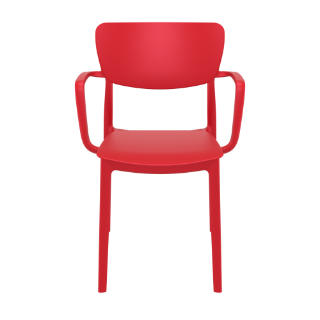 Lisa Outdoor Dining Arm Chair Red ISP126 360° view