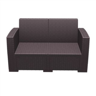 Monaco Wickerlook Resin Patio Loveseat Sofa Brown with Cushion ISP832 360° view