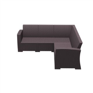 Monaco Wickerlook Resin Patio Corner Sectional 5 Piece Dark Gray with Cushion ISP834 360° view