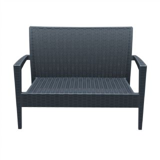 Miami Wickerlook Resin Patio Loveseat Dark Gray ISP845 360° view