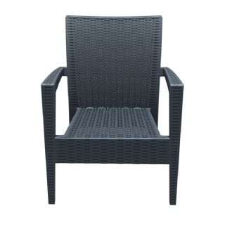 Miami Wickerlook Resin Patio Club Chair Dark Gray ISP850 360° view