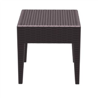 Miami Wickerlook Resin Patio Side Table Brown 18 inch. ISP858 360° view