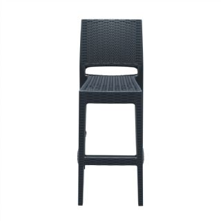 Jamaica Wickerlook Resin Bar Chair Dark Gray ISP866 360° view