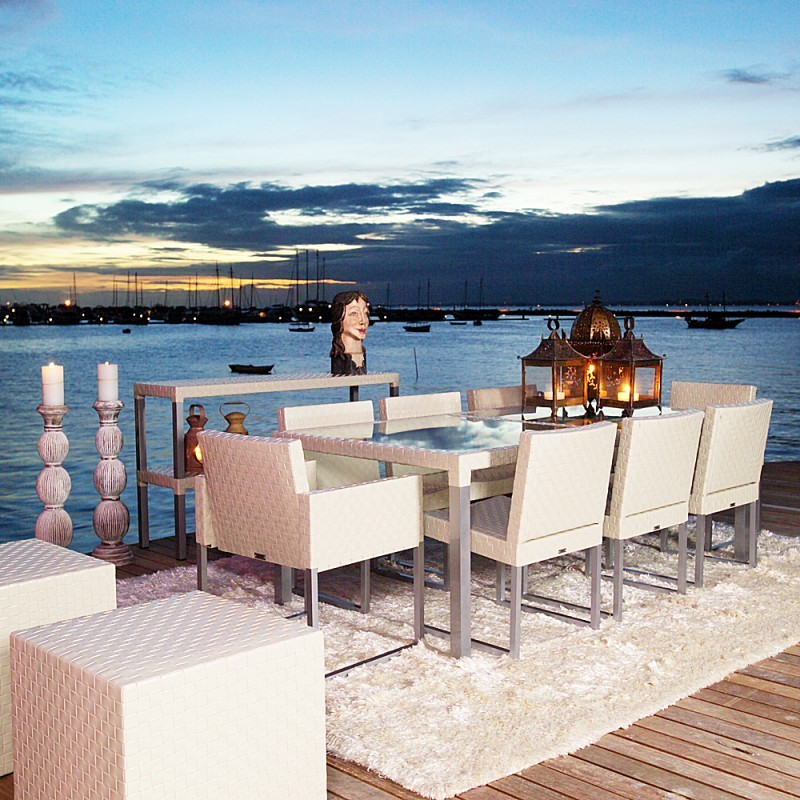 Contemporary Outdoor Dining Furniture: Cube Contemporary Outdoor Dining Set 9 Piece TID34DSET1