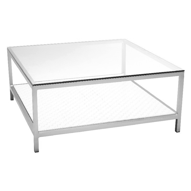 Tidelli Cube Square Outdoor Wicker Coffee Table With Shelf