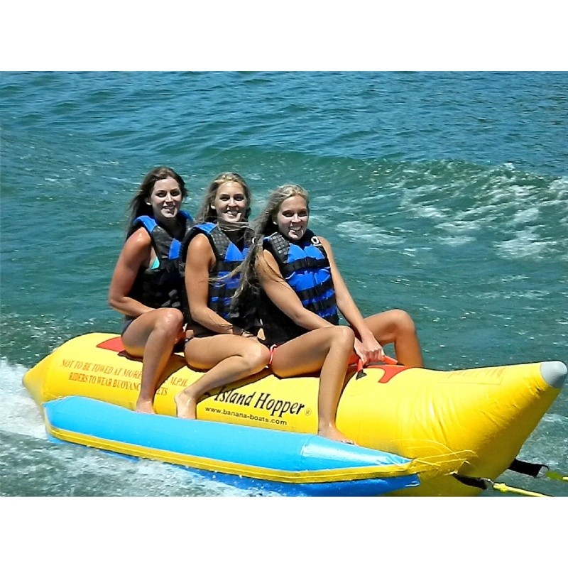 Kid's Inflatable Jet Ski Pool Ride on Toy: Banana Boat Towable Water Sled 3 Passenger