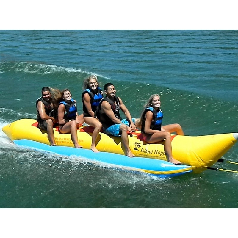 Kid's Inflatable Jet Ski Pool Ride on Toy: Banana Boat Towable Water Sled 5 Passenger