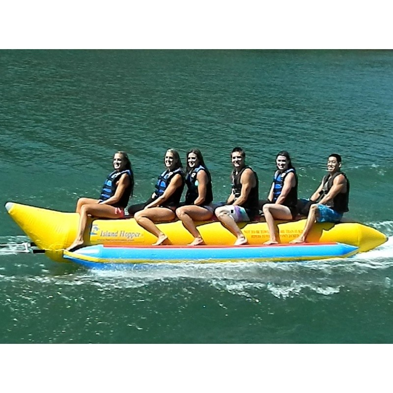 Kid's Inflatable Jet Ski Pool Ride on Toy: Banana Boat Towable Water Sled 6 Passenger