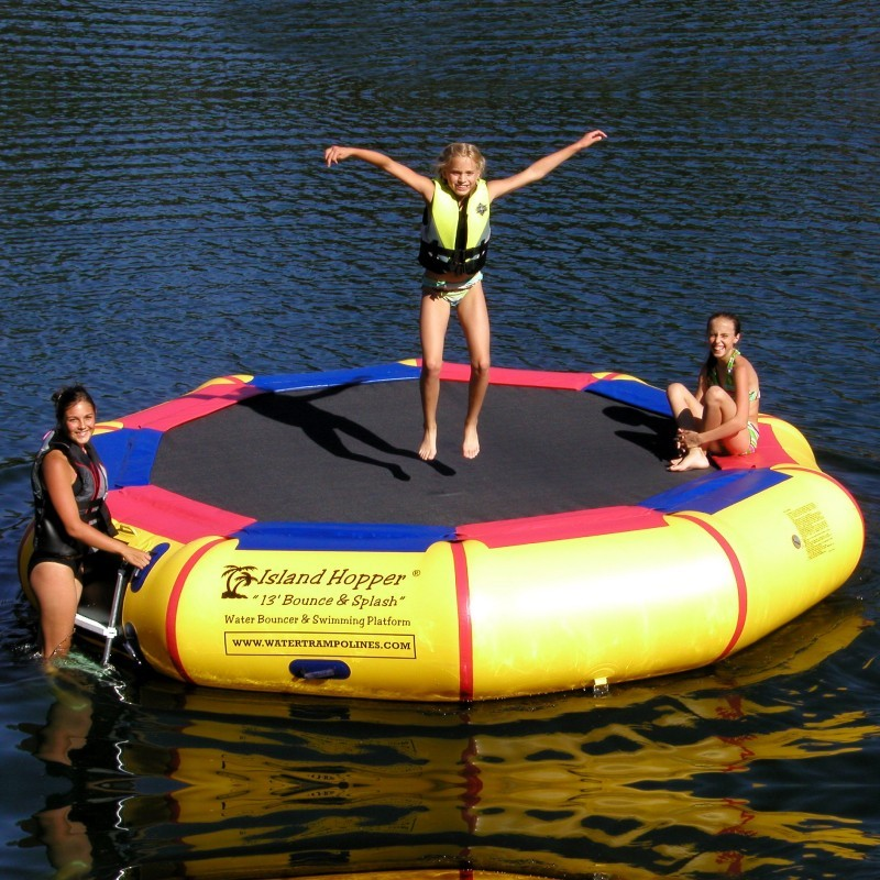 Lake Trampolines, Bouncers, Rafts: Island Hopper 13 feet Bounce & Splash Lake Water Bouncer
