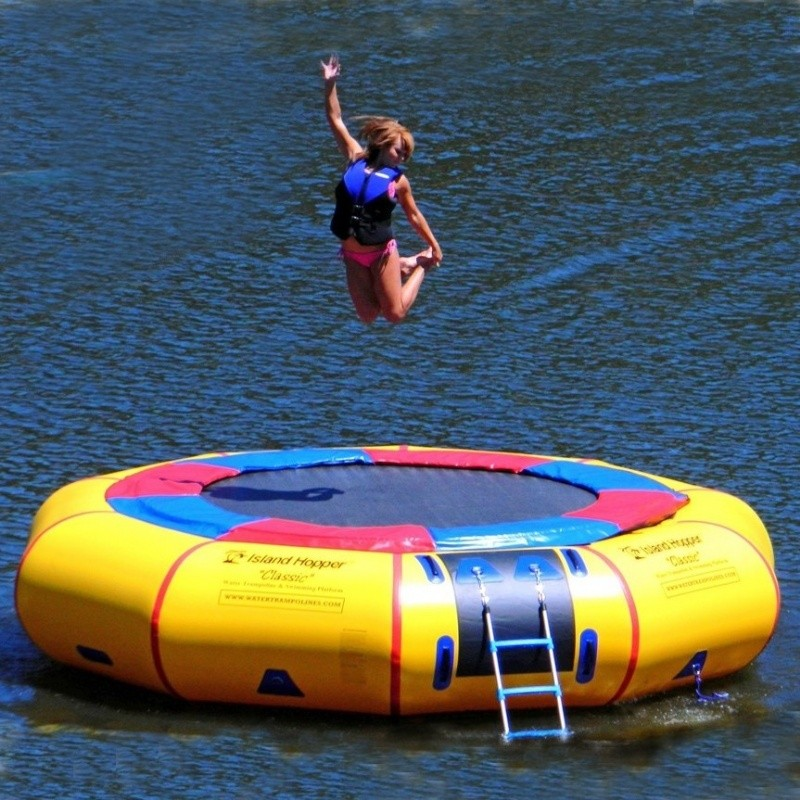 Inflatable Water Rentals in Suffolk County New York: Island Hopper 15 feet Classic Lake Trampoline
