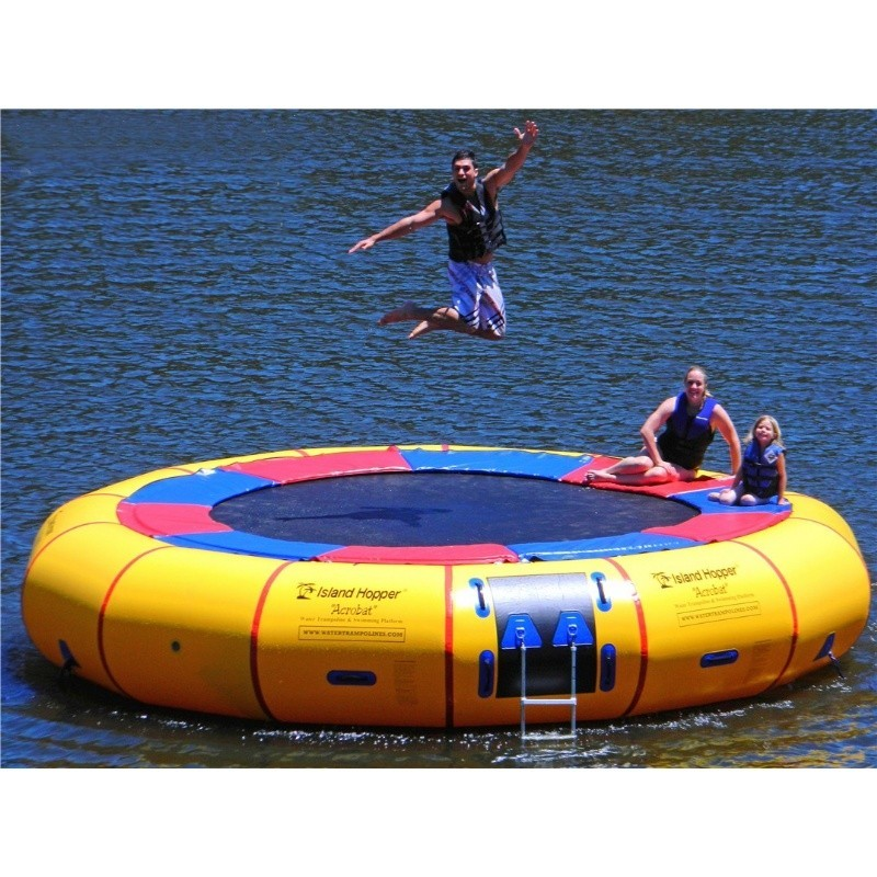 Inflatable Water Rentals in Suffolk County New York: Island Hopper 20 feet Acrobat Lake Trampoline