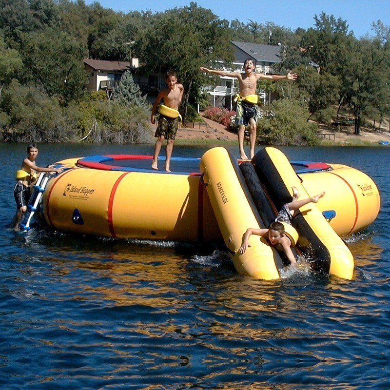 Lake Trampolines, Bouncers, Rafts: Island Hopper Bounce-Slide Attachment Module