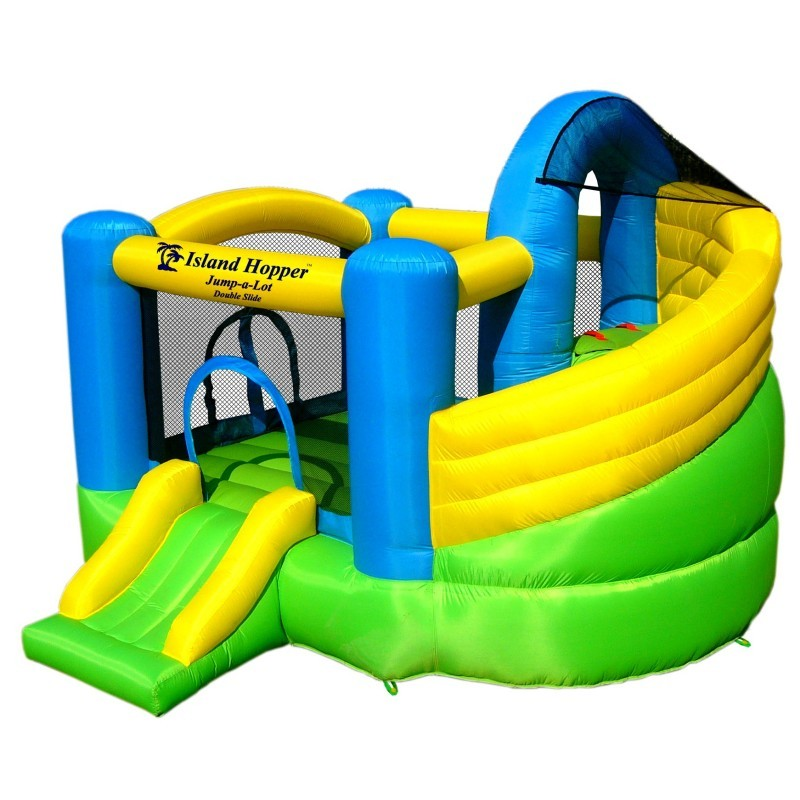 Blow Up Trampoline: Jump A Lot Double Slider Bounce House 11x11x8