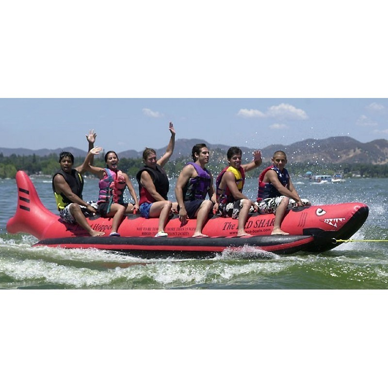 Manta Ray Towable Flying Water Tube: Red Shark Towable Water Sled 6 Person Inline