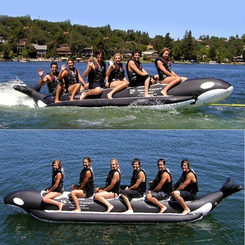 Manta Ray Towable Flying Water Tube: Whale Ride Towable Water Tube 6 Person Inline