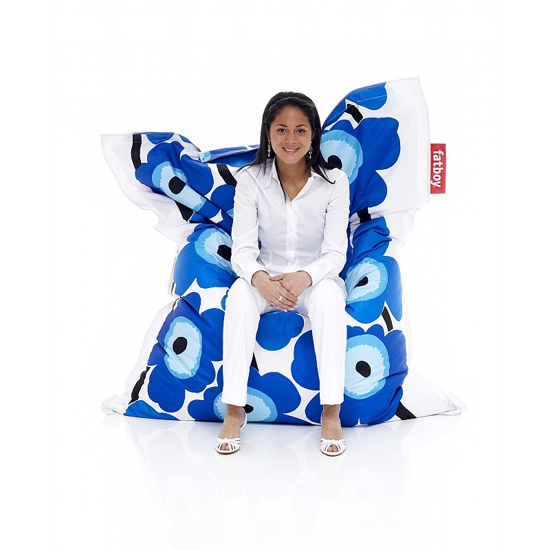 Bean Bag Chairs: Fatboy Marimekko Bean Bag Chair Unikko Blue 55x70