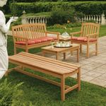 Shorea Wood Chadwick Outdoor Bench Seating Set 4 piece OG-CHCH4SET