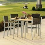 Travira Aluminum Outdoor Dining Set 5 piece Black Slings OG-TVSB5SET