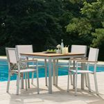 Travira Aluminum Outdoor Dining Set 5 piece Natural Slings OG-TVSC5SET