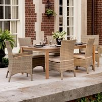 Torbay Outdoor Wicker Rectangle Patio Dining Set 7 Piece OG-TBSCA-SETR7