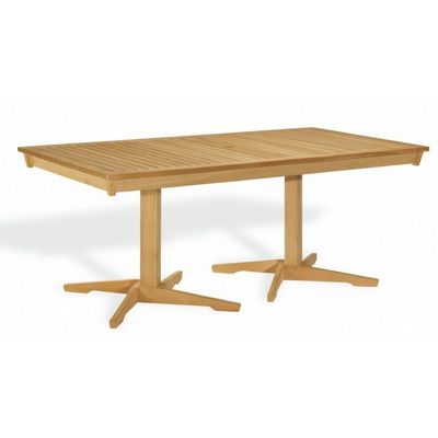 Shorea wood rectangle pedestal outdoor dining table 76 inch og ha76pt cozydays - Rectangle pedestal dining table ...