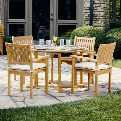 Shorea Wood Warwick Square Outdoor Dining Set 5 Piece OG-WS5SQSET