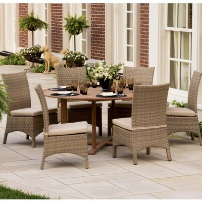 Torbay Outdoor Wicker Round Patio Dining Set Piece OGTBSCASET - 7 piece outdoor dining set round table