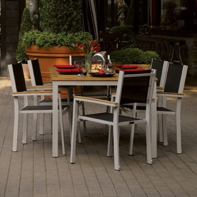 Travira Aluminum Outdoor Dining Set 7 Piece Black Slings