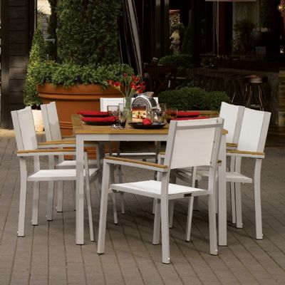 Travira Aluminum Outdoor Dining Set 7 piece Natural Slings OG-TVSC7SET