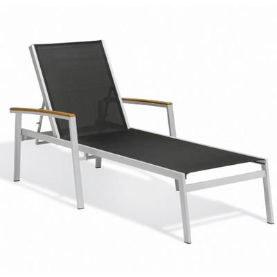 Travira aluminum sling stackable chaise lounge black og for Black metal chaise lounge outdoor