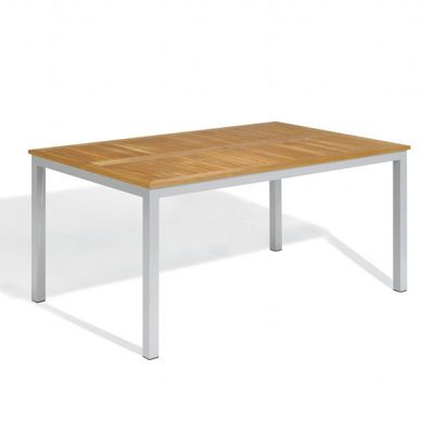 Travira Aluminum Teak-Top Rectangle Dining Table 63 Inch OG-TV63TA