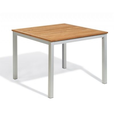 Travira Aluminum Teak-Top Square Dining Table 39 Inch OG-TV39TA