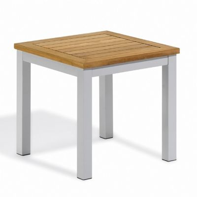 Travira Aluminum Teak-Top Square Side Table OG-TVET