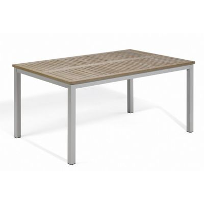 Travira Aluminum Tekwood Vintage Top Rectangle Dining Table 63 Inch OG-TV63TAV