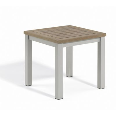 Travira Aluminum Tekwood Vintage Top Square Side Table OG-TVETV