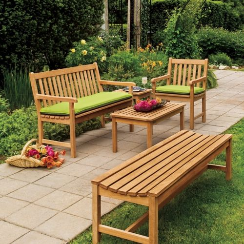 Shorea Wood Classic Outdoor Bench Seating Set 4 piece OG-CD4SET