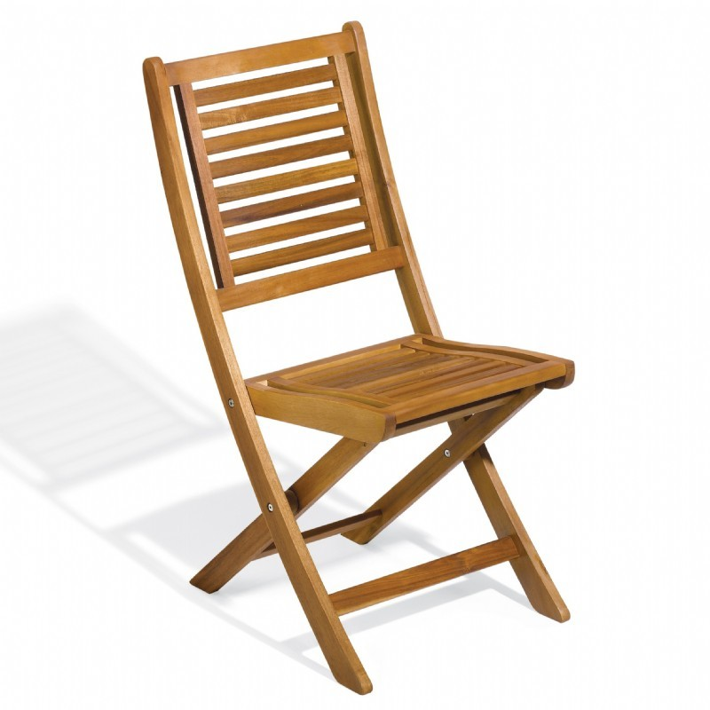 Commercial Capri Acacia Wood Folding Chair