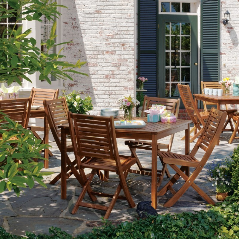 capri acacia wood outdoor dining set 5 pcs