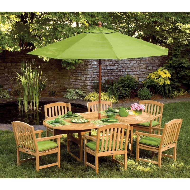 Outdoor Furniture: Oxford Garden: Shorea Wood Chadwick Oblong Outdoor Dining Set 7 Piece