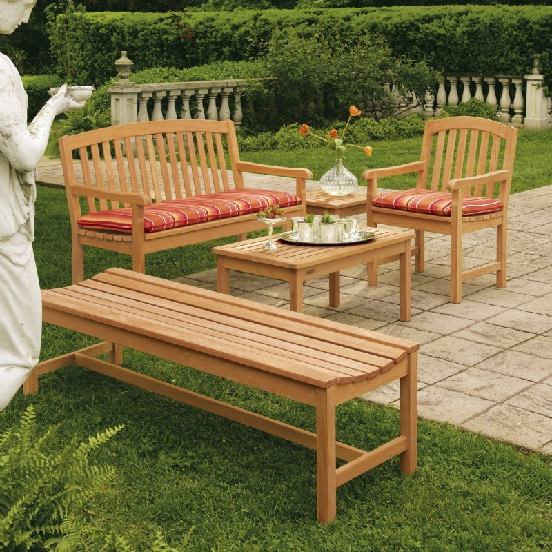 Outdoor Furniture: Oxford Garden: Shorea Wood Chadwick Outdoor Bench Seating Set 4 piece