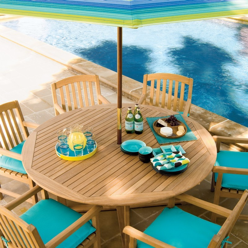 Shorea Wood Chadwick Outdoor Dining Set 7 Piece : Pool Furniture Sets